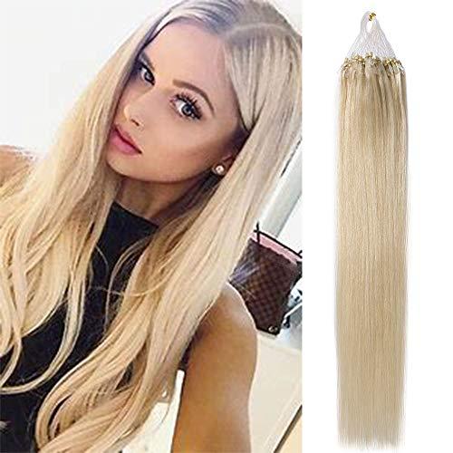 Microring Extensions Echthaar Haarteile Echthaar Weich Haarverlängerung 0,5g/Strähne 100 Strähnen/Set 100% Human Hair 50g 40cm-60# Platinblond