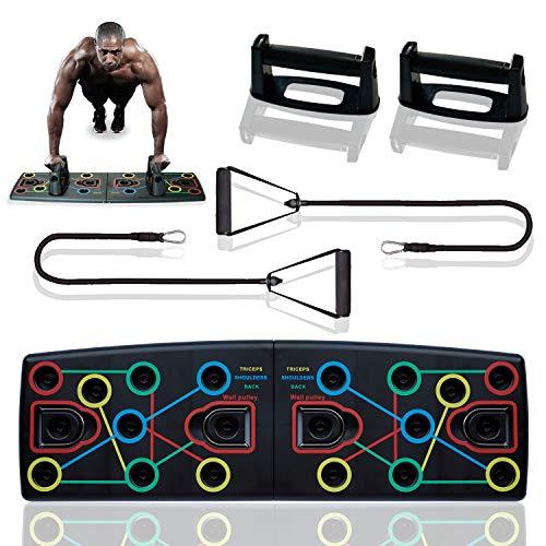 Nother Push up Board, 14 in 1 Push up Board, Multifunktionale Fitness Geräte Push Up Board,Liegestütze Brett,geeignet für Muskeltraining Fettabbau Training(1 Paar Griffe/1 Paar Widerstandsbänder)
