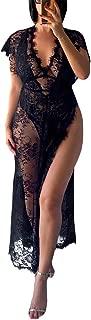 Wiwsi Sexy Women Split Lace Nightdress Deep V Long Nightgowns Nightwear Lingerie