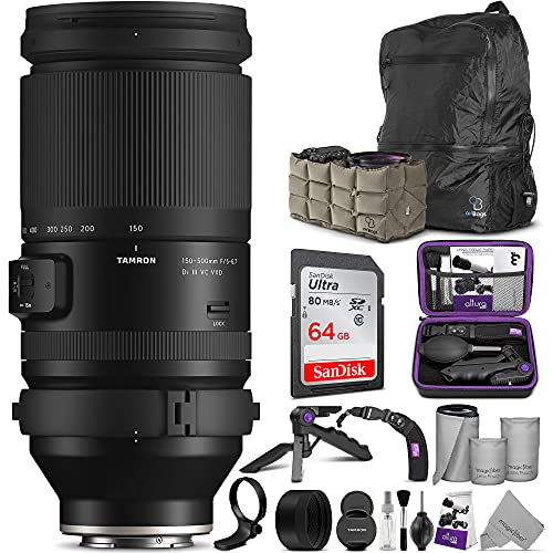 Tamron 150-500mm f/5-6.7 Di III VXD Lens for Sony E Mount with Altura Photo Advanced Accessory & Travel Bundle