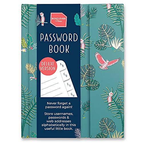 Boxclever Press New Deluxe Password Book with Alphabetical Tabs, Magnetic Closure & Pencil. Password Keeper for All Your...