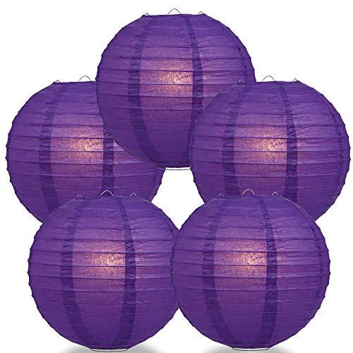 "Quasimoon PaperLanternStore.com (5-Pack) 8"" Royal Purple Round Paper Lantern, Even Ribbing, Hanging Decoration"
