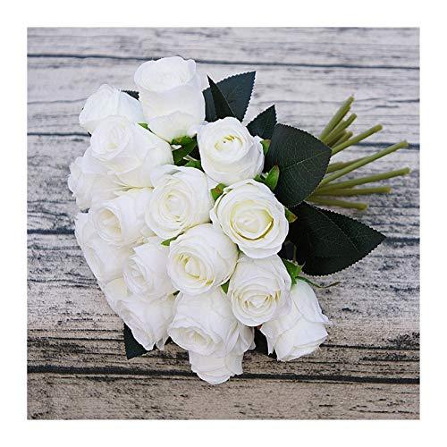 JINGGEGE Rosas artificiales de seda para decoración del hogar, fiestas, flores falsas, ramo de boda, flores de Navidad, decoración del hogar (color: blanco)