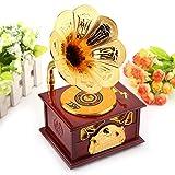 Forma de fonógrafo en miniatura retro Caja de música Artesanía Cuerno de trompeta de oro clásico Manualidades creativas Adornos de decoración de la oficina en el hogar- Cumpleaños Navidad.(marrón)