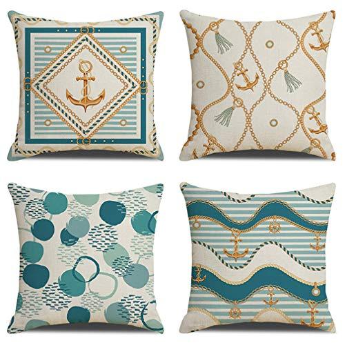 WOHCO Paquete de 4 Fundas de Almohada, Funda de cojín Decorativa para el hogar de Lino de algodón Cuadrado con Tema del océano para decoración del hogar, sofá Cama, 18'x 18'