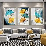 SHYJBH Carteles e Impresiones Ginkgo Leaf Sofá Fondo Pared Moderno Ambiente Minimalista Mural Pintura de cabecera Azul Verde Amarillo 3X 60x80cm sin Marco