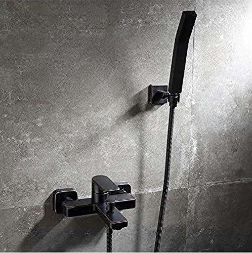 ETERNAL QUALITY Badezimmer Waschbecken Wasserhahn Messing Hahn Waschraum Mischer Mischbatterie Die Kupfer Schwarz warme und kalte Badewanne Armatur Dusche Retro einfache