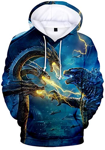 PANOZON Herren 3D Digitaldruck Godzilla: King of The Monsters Kapuzenpullover Gojira Hoodies(Blitz3514, M)