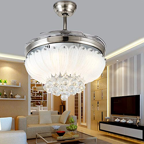 42 inch Crystal Ceiling Fans Lights with Remote Control, Modern Retractable Ceiling Fan Chandelier with 3 Colors 3 Speed Fan Chandelier Lighting for Bedroom Dining Living Room (Silver+White)
