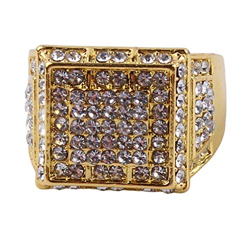 Toporchid Men'S Iced Out Engagement Rings Cz Pinky Men Women Full Crystal Ring(size 8)