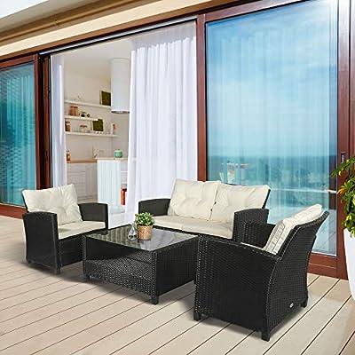 Outsunny 4 Piece Rattan All Weather Furniture Sofa Set Black