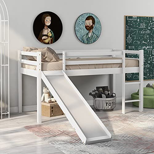 Blanketswarm Struttura per letto a castello per bambini con scivolo e scaletta, in legno di pino con scala regolabile e scorrevole per bambini, 190 x 90 cm, colore: bianco