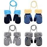 Product Image of the MarJunSep 4-Pack Winter Warm Fuzzy Fleece Baby Mitten Gloves Full Fingers with...