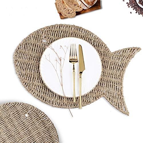 CHONLY Tischset Seegras Natur Handgewebte Platzset 4er Set 44 * 30 cm Fisch Hitzeheständige rutschfeste Geflochte Untersetzer für Zuhause Outdoor Garten Terrasse Geschenk