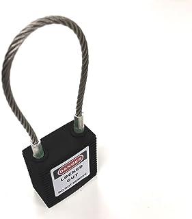 セーフラン(SAFERUN) ロックアウト用ケーブルパドロック 黒 本体:高性能プラスチック、ナイロン 吊:ステンレス キー2本付属 ワイヤータイプ 吊径φ3.2mm x H150mm ブラック