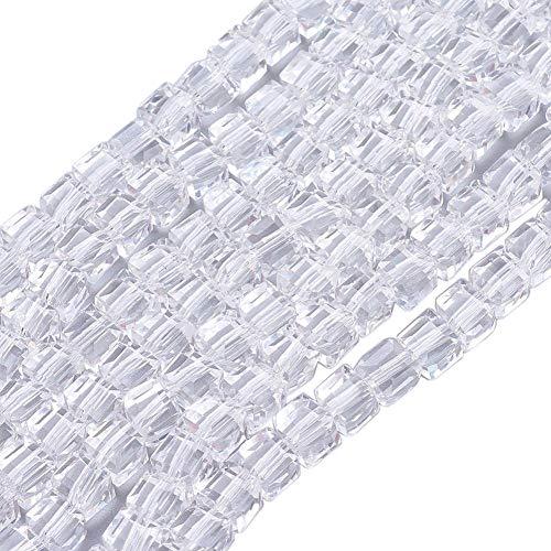 Cuentas de Cristal de Bohemia de 4 mm y 6 mm, Juego de Cubos facetados, Perlas checas, Perlas intermedias, Perlas de Cristal, (Cristal, 4 x 4 x 4 mm, 25 Unidades)