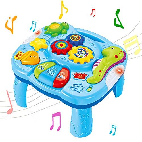 WISHTIME Table d'apprentissage Musical pour bébé Jouets 2 en 1 pour l'éducation préscolaire Jouets Centre d'activités Musicales pour bébés