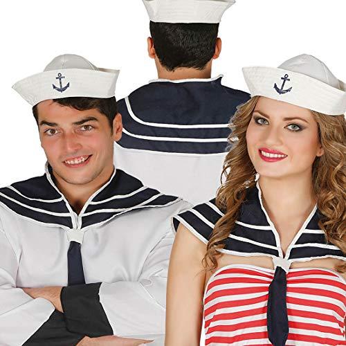 Amakando Hübsche Matrosin Verkleidung im Set / Weiß-Blau / Marine Outfit mit Matrosenmütze und Matrosenkragen / EIN Blickfang zu Kostümfest & Fasching