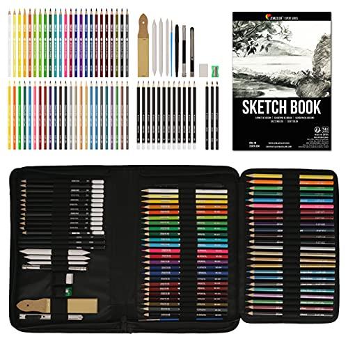 Kit Disegno Completo 74 pezzi - Principianti o Professionisti, Astuccio da 24 matite acquerello 12 matite colorate 12 matite metalliche 12 matite da disegno e Accessori - 1 Album da Disegno incluso