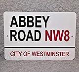 Targa in Metallo Abbey Road City of Westminster London England Studios Punto di Riferimento in Alluminio 30,5 x 45,7 cm Garage Man Grotta.