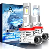NORDLICHTER H11 LED Bulb, 10000LM Fanless H8 H9 Ultra Bright 6500K Conversion Kit Cool White, Pack of 2 - Halogen Replacement