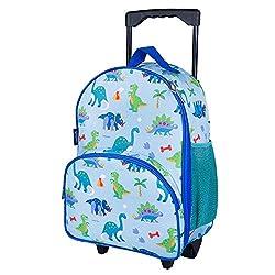 6. Wildkin Olive Kids Dinosaur Land 16″ Kids Rolling Luggage