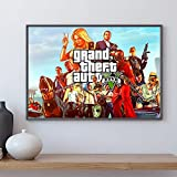 WDQFANGYI Póster De GTA 5, Lienzo, Arte De Pared, Grand Theft Auto V, Juego De Papel Tapiz, Impresiones, Pegatinas De Barra, Mural, Decoración De Dormitorio, 50X70 Cm (Sh-3188)