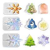 Iriisy 9 pcs moldes de resina de silicona con tema navideño Molde colgante de resina epox...