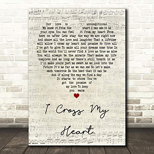 I Cross My Heart Script Heart Quote Song Lyric Wall Art Gift Print