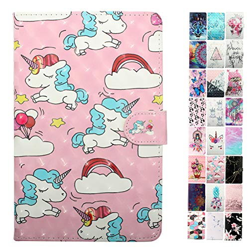 Coeyes Custodie per Tablet PC Universal 8 Pollice (7.5-8.5 Pollice), Cover Custodia in Pelle Flip Case Portafoglio a Libro con Silicone Antiurto - Unicorno di Nuvole