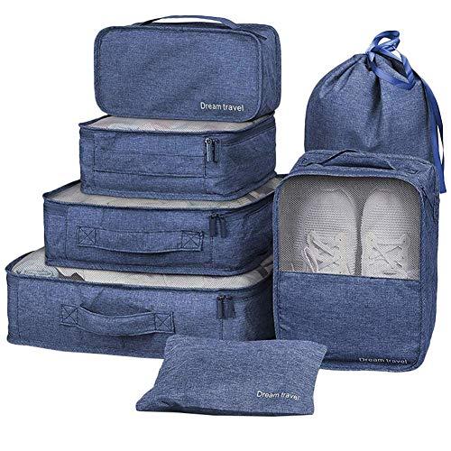 Wxianmy Juego de 7 bolsas de almacenamiento multifunción de viaje, bolsa organizadora portátil con cordón para hombres y mujeres, regalo de viaje a casa