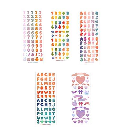 【Manet公式】 オーロラパール 枠なし シール 5種 セット(数字−ゼリー・アルファベット−ゼリ・数字−F/W・アルファベット−F/W・ハートリボン) 【Amazon.co.jp限定】