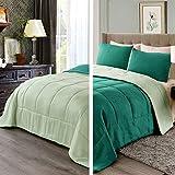 Exclusivo Mezcla Lightweight Reversible 3-Piece Comforter Set for All Seasons, Down Alternative Comforter with 2 Pillow Shams, Queen Size, Forest Green
