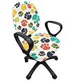 Ambesonne Dog Lover Office Chair Slipcover, Hand Drawn Paw Print Doodles Circular Pattern Drawing Style Animal, Protective Stretch Decorative Fabric Cover, Standard Size, Charcoal Beige