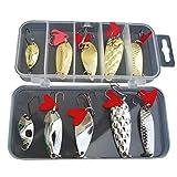 LIOOBO 10pcs Lentejuelas cebos de Pesca del Juego Bass Hard Water cebos de Pesca en Caja Color Bionic Pike Fresh Lures