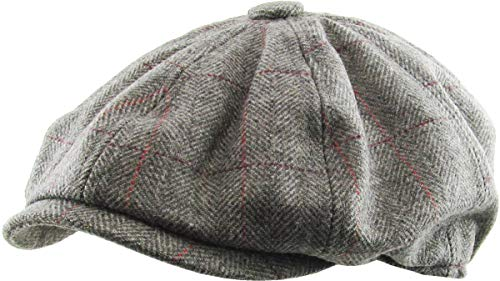 KBW-310 DGY S/M Ascot Ivy Button Newsboy Hat Applejack Wool Blend Hat