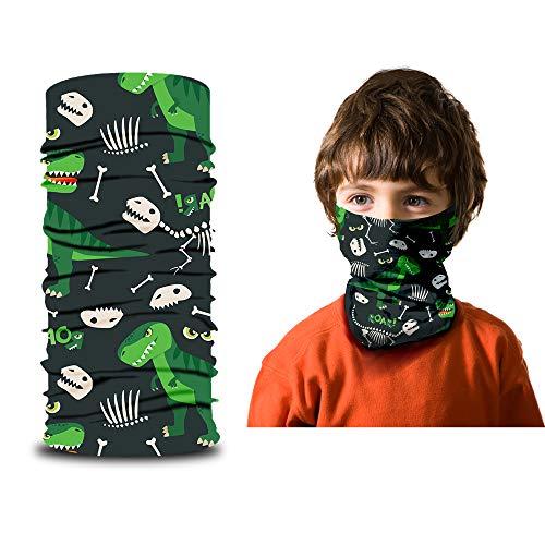 ARMORAY Face Mask Balaclava Neck Gaiter Reusable Washable Bandana Headwear Headband for Men & Women Hiking Cycling Fishing Masks (DINO KIDS)