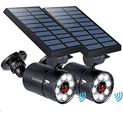 Solar Motion Sensor Light Outdoor of 2, 1400-Lumen 9-Watt(110W Equ.) LED Spotlight, Solar Flood Security Emergency Lights for Driveway Patio Garden, 160-Week 100% Free Replacement Guarantee