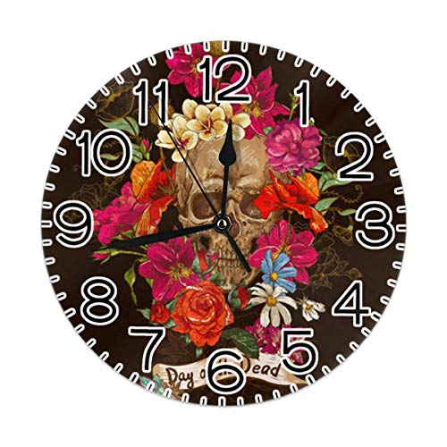 Reloj de pared con diseño de calavera de azúcar y flores, silencioso, duradero, delicado, decorativo, con números árabes, reloj redondo premium de 22,84 cm, silencioso, para decoración de interiores
