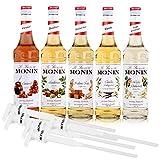 MONIN-SET Café 5+5 - 5x Kaffee Sirup + 5x Pumpen - Karamell, Vanille, Praline-Nuss, Haselnuss, Weisse Schokolade (5x 0,7l)