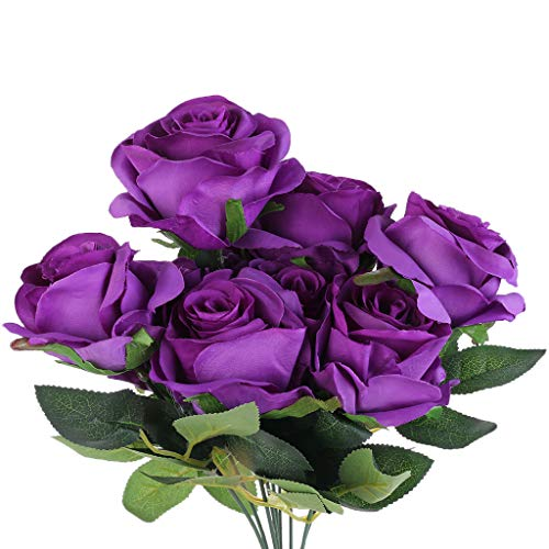 Vdn Djvn Fleurs Artificielles 9 Têtes Soie (Fleurs) Plastique (Tige) Roses Artificielles Arrangement De Fleurs Bouquet De Soie Fleurs Artificielles Déco 7 Couleurs Disponibles 3 Tailles Disponibles