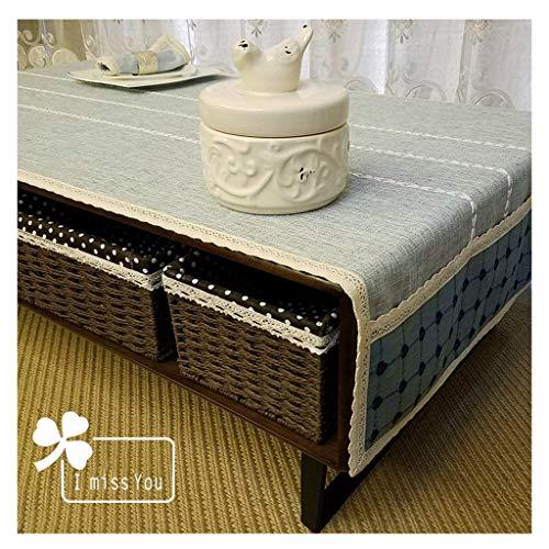 LWF-Mantel Europeo Mantel - Mesa Algodón Lino Art Desk Mantel Mantel Mat Lavadora Cubierta Toalla (Color : A, Size : 60 * 150cm)