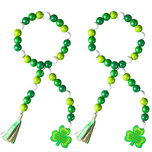 2 Pieces St. Patrick's Day Beaded Garland Wood Bead Garland with Tassel, Green Shamrock Pendant Wooden Bead Garland Farmhouse Style Irish Wood Beaded Decor Natural Beads for Home Wall Hanging Decor