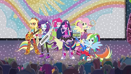 My Little Pony Equestria Girls Rainbow Rocks Dash Twilight Applejack Rarity Fluttershy Edible Cake Topper Frosting 1/4 Sheet Birthday Party