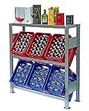 Lagerknecht Getränkekistenregal 6 Kisten Made in Germany professionelle Ordnung für Kisten Regal für Getränkekisten mit Regalboden, Getränkeregal, Wasserkistenregal, Bierkistenregal