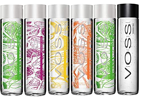 VOSS, Raspberry Rose, Lime Mint, Lemon Cucumber, Sparkling Water, Tangerine Lemongrass, Variety Pack, 12.7 Oz, 375 ML Glass Bottles (Pack of 6, Total of 76.2 Fl Oz)