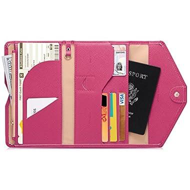 Zoppen Mulit-purpose Rfid Blocking Travel Passport Wallet (Ver.4) Tri-fold Document Organizer Holder, 7 Rose Red