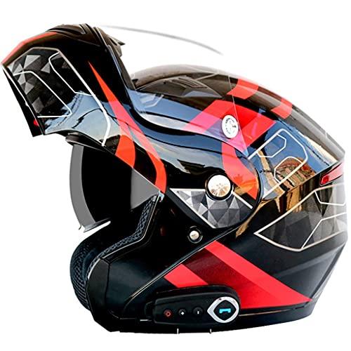 MRDAER Casco Bluetooth para Motocicleta, Casco Completo Modular con Visera Solar Doble Tipo abatible, Sistema de comunicación de intercomunicación Integrado de transmisión Incorporado, Casco certif