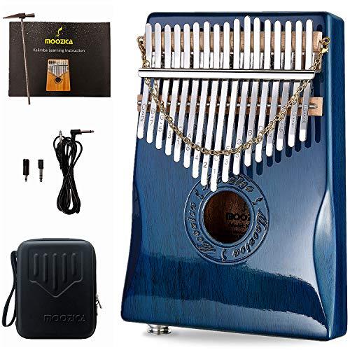 Moozica 17 Keys EQ Kalimba thumb pano, marimba mbira eléctrica profesional con pastilla incorporada (EQ de caoba, acabado de laca para piano)