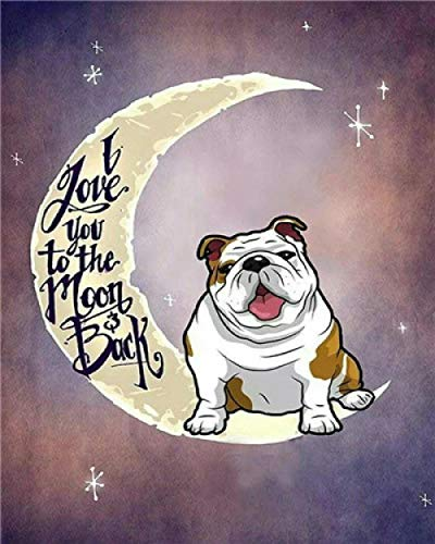 DIY 5D Diamond Painting Kits for Adults and Kids French Bulldog On The Moon Crystal Rhinestone Embroidery Cross Stitch Arts Craft Home Wall Decoration(Square Diamond 11.8Inchx15.7Inch)